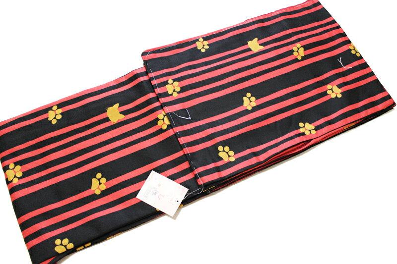 猫柄 お仕立て上がり 袷せ 着物-赤×黒色細縞(ML各サイズ有/地色:黒×赤色/洗える/仕立て上がり 袷せ 小紋 /地模様入り変わり生地使用/ねこ よろけ 縞 着物 ねこ柄 ドット 水玉 格子/送料無料)