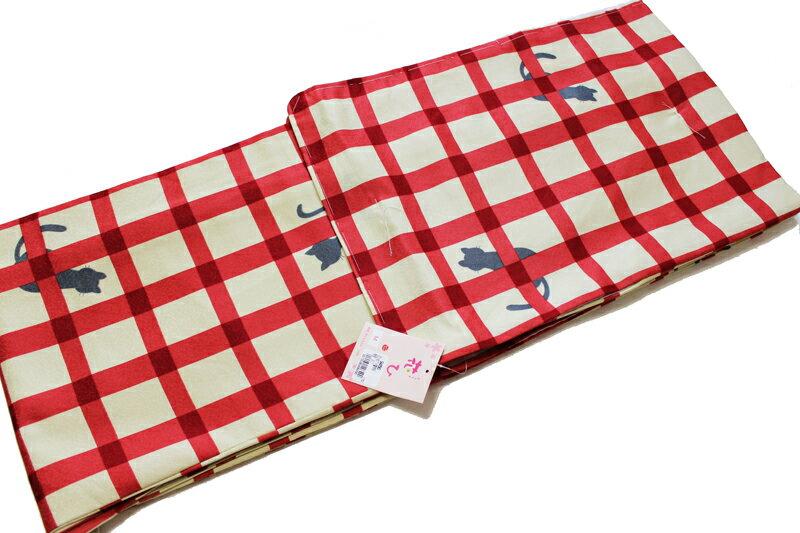 猫柄 お仕立て上がり 袷せ 着物-薄ベージュ×赤色格子(ML各サイズ有/地色:薄ベージュ×赤色/洗える/仕立て上がり 袷せ 小紋 /地模様入り変わり生地使用/ねこ よろけ 縞 着物 ねこ柄 ドット 水玉 格子/送料無料)