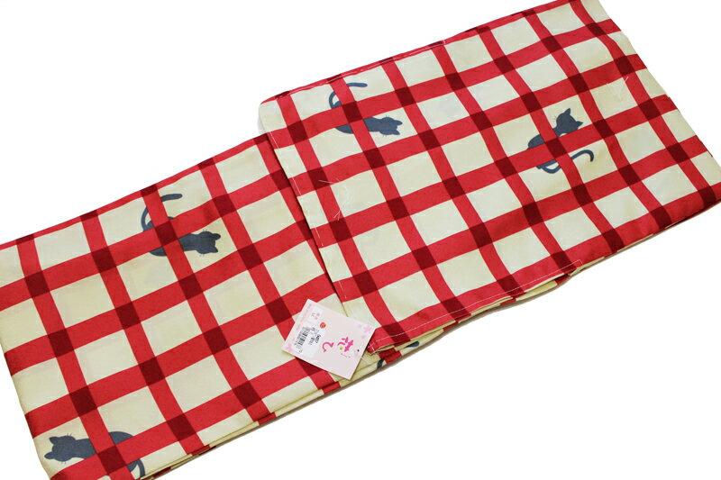 猫柄 お仕立て上がり単衣 着物-No.105(MLサイズ有/地色:ベージュ×赤色/洗える/仕立て上がり 単衣 小紋 /地模様入り変わり生地使用/ねこ よろけ 縞 着物 ねこ柄 ドット 水玉 格子/送料無料)