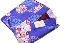 二部式着物-No.322(地色:青紫色/S・M・L・TL各サイズ/袷時期の着物/夏以外可能/洗える/帯不要/リボンで結ぶタイプ/S・TLサイズは500円アップとなります。)
