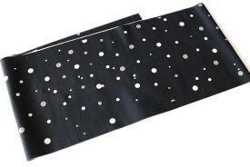洗える柄半襟-水玉黒色(ポリエステル素材・袷せ時期/半襟/スワロフスキー)