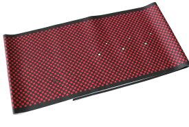 洗える柄半襟-市松柄黒色地に赤色(ポリエステル素材・袷せ時期/半襟/スワロフスキー)