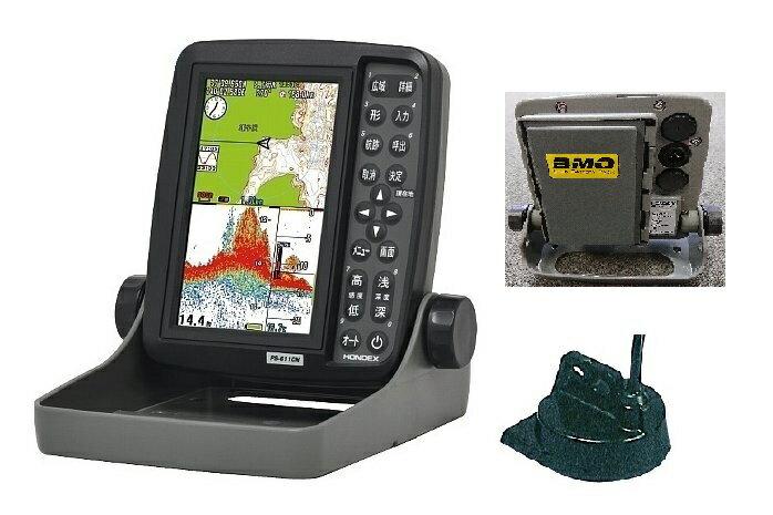 ホンデックス HONDEX 魚群探知機 PS-611CN 5型GPSプロッター魚探+BMO製リチウムイオンバッテリー