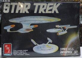 【箱にダメージ・未開封】スタートレック 1/2500スケール USSエンタープライズ3点セット Star Trek U.S.S. Enterprise Starship 3Piece amt【中古】