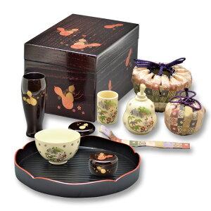 茶道具 茶箱(ちゃばこ)セット 茶箱セット 花手前一式 溜 掻合塗 瓢蒔絵