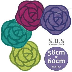 SDS ローズ フリーマット M:58×60cm (グリーン/ピーコックブルー/パープル/バイオレット)[ トイレマット バスマット かわいい おしゃれ 薔薇 バラ 北欧 ]