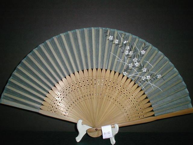 典具紙扇 小花柄(緑色)/女物サイズ6.8寸/男女兼用/京扇子