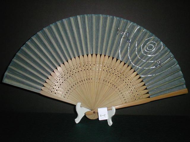 典具紙扇 トンボ柄(緑色)/女物扇子/6.8寸/女性用婦人用レディース