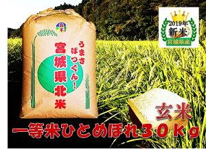 新米 宮城県産 純粋新米 ひとめぼれ 玄米30kg