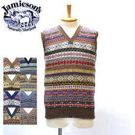 【9 COLORS】JAMIESON'S(ジャミーソンズ)【MADE IN ENGLAND】 FAIR ISLE SWEATER V-NECK VEST(イギリス製 フェアアイルニット Vネック ベスト)