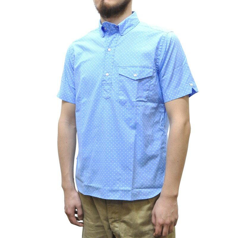 SEPTIS ORIGINAL(セプティズオリジナル) IVY PULLOVER SHIRTS(半袖ラウンドカラーアイビープルオーバーシャツ) SMALL DOT LIGHT BLUE/WHITE