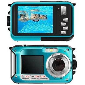 デジカメ 防水 デジカメ 水中カメラ【翌日発送】デジタルカメラ スポーツカメラ 1080P 24.0MP デュアルスクリーン