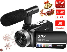 「クーポン利用で12236円」ビデオカメラ 2.7K 3000万画素 外付けマイク+フード18倍デジタルズーム 予備バッテリー 3インチタッチモニター 日本語システム+説明書 デジタルビデオカメラSDカード(最大128GB) サポート