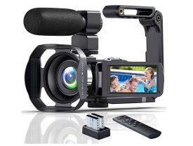 ビデオカメラ4K YouTubeカメラ 48MP 18倍デジタルズーム Wi-Fi機能 手持ちスタビライザー HDMI出力 外付けマイク 360°遠隔操作 IR夜視機能 SDカード(最大128GB) サポート 3.0インチタッチモニター タイムラプス撮影 日本語取説 予備バッテリー *2
