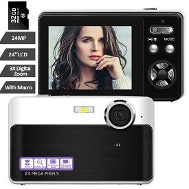 【一年保証期間+送料無料】デジカメミニデジタルカメラ コンパクト32GBカード同梱 1080P 30FPS 2400万画素数 日本語取説 近景モード付き フラッシュライト 2.4インチIPSスクリーン 3倍デジタルズーム