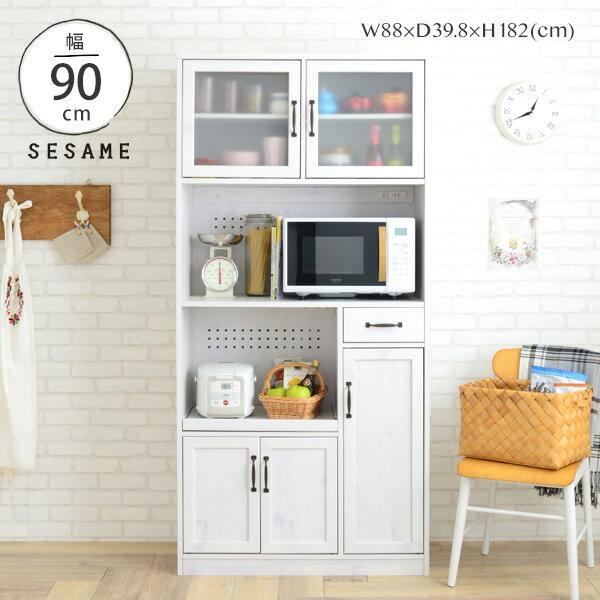 最大1,000円OFFクーポン配布中♪ レンジ台 大容量 キッチンボード 食器棚 一人暮らし キッチン収納 幅88cm 88幅 レンジボード オープンボード スライド 白 ホワイト シンプル かわいい おしゃれ <LUFFY/LU180-90L>