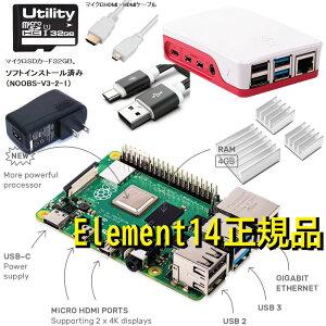ラズベリーパイ4 4GB 7点セット 本体 ケース 電源 マイクロHDMI-HDMIケーブル USB-Cタイプケーブル ヒートシンク3枚 マイクロSDカード(32G/Noobs入り)