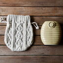 手編みのざっくりニットの湯たんぽカバー 手編みのざっくりニット湯たんぽカバー&美濃焼湯たんぽセット 陶器湯たん…
