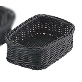 ☆ 卓上小物 ☆P-ラタン 角型バスケット15型 ブラック RE-330-BK [ 150 x 110 x H50mm ] 【 レストラン ホテル 飲食店 業務用 】