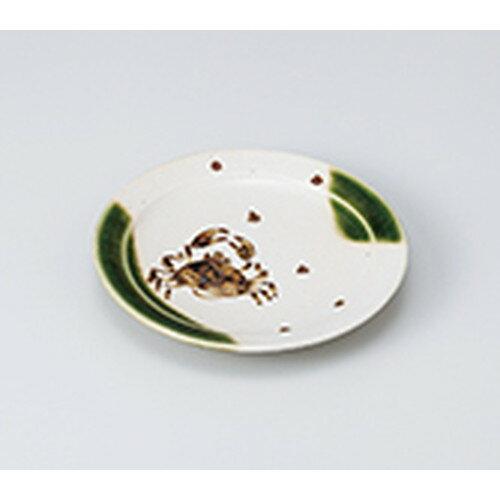 和皿 織部かに絵5.0丸皿 [ 15 x 2cm ] | 小皿 取り皿 人気 おすすめ 食器 業務用 飲食店 カフェ うつわ 器 おしゃれ かわいい ギフト プレゼント 引き出物 誕生日 贈り物 贈答品
