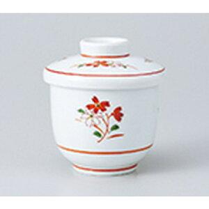 蒸碗 赤絵花小むし [ 7.3 x 8.4cm ・ 約170cc ] | 茶碗蒸し ちゃわんむし 蒸し器 寿司屋 碗 むし碗 食器 業務用 飲食店 おしゃれ かわいい ギフト プレゼント 引き出物 誕生日 贈り物 贈答品