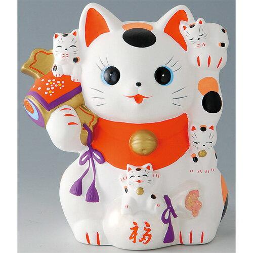置物 エコクラフト 猫づくし招き猫 [14.8x13.5x10.7cm] 【縁起物 かわいい 置物】