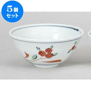 5個セット 大平 赤絵花茶碗 [12.4 x 5.5cm] | ちゃわん お茶碗 飯碗 ご飯茶碗 白米 人気 おすすめ 食器 業務用 飲食店 カフェ うつわ 器 おしゃれ かわいい ギフト プレゼント 引き出物 誕生日 贈り