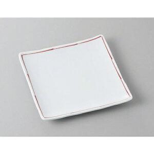 正角盛皿 赤ライン60正角皿 [17 x 17 x 2.3cm] 強化 | 盛り皿 盛皿 人気 おすすめ フルーツ皿 パーティー パスタ皿 食器 業務用 飲食店 カフェ うつわ 器 ギフト プレゼント 引き出物 誕生日 贈り物