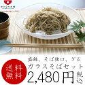 【送料無料】銀ガラス素麺セット(そば皿/蕎麦猪口/竹ス)