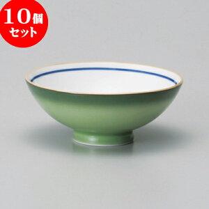 10個セット 茶碗 緑彩中平 [ 11.6 x 4.7cm ] | ちゃわん お茶碗 飯碗 ご飯茶碗 白米 人気 おすすめ 食器 業務用 飲食店 カフェ うつわ 器 おしゃれ かわいい ギフト プレゼント 引き出物 誕生日 贈り