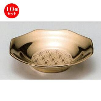 Ten set ☆ funerals and festivals tool ☆ gold (family crest of a hemp leaf) purifying salt octagon plates [52 g of 9.4 x 9 x 2.2cm]
