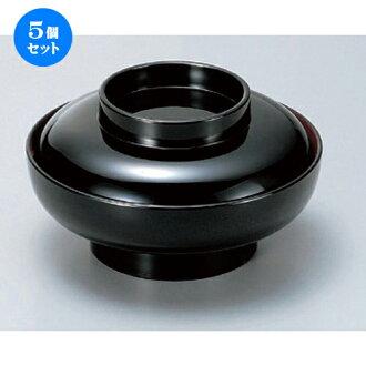 5个安排☆越前漆器☆(A)6寸大平煮的菜碗黑里面的朱红色天黑[18.1 x 9.5cm(580cc)304g]