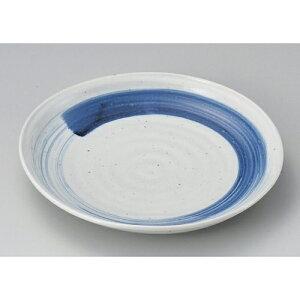☆ 丸皿 ☆御深井大文字三つ山7.0皿 [ 23.5 x 3.5cm 593g ]| 白 ホワイト 青 ブルー ネイビー 大皿 中皿 盛り皿 おもてなし 天ころそば 冷しゃぶ かつおのたたき 和食 おすすめ 人気 食器 業務用 飲食