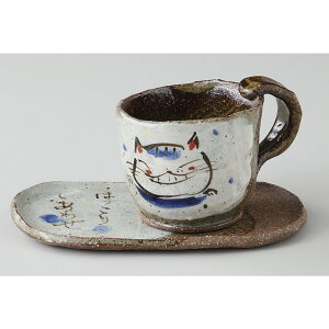 ☆ コーヒーカップ ☆ ほっこり猫 碗皿 青 [品 : 碗 x 1/R8 x 6.5cm皿 x 1/R16 x 9cm 箱 : 14.5 x 14.5 x 8cm 430g] [ 陶器 美濃焼 ボール箱 ] | ギフト プレゼント 贈り物 贈答品 結婚祝い 引き出物 内祝い 誕生