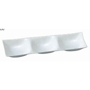 盛器 スリーホールプレート陶磁器調白 SH塗 [26.2 x 8.5 x 2.8cm] ABS樹脂 (7-567-8) | ランチ プレート ワンプレート 朝食 人気 おすすめ 食器 洋食器 業務用 飲食店 カフェ うつわ 器 おしゃれ かわい