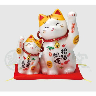 Invitation 猫彩絵萬福招 comes; cat set (招福親子 with bell) [height pro-12cm child 7.5cm] | Beckoning cat cat cat mascot souvenir pretty stylish decoration overdoor good luck business prosperity my wife safe lucky charm invitation cat present gift present opening