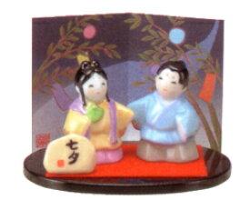 彩絵 七夕 置物 陶器