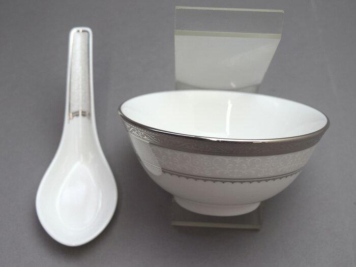 【中華食器】ノリタケ オデッサプラチナ11.5cmボウル・レンゲセット