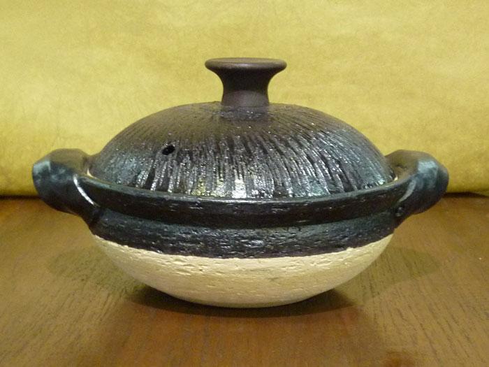 伊賀焼 土鍋長谷製陶取手もいい土鍋 黒釉(木つまみ)大