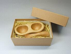 クラフト木の実てのひら皿と食べさせスプーンセットギフトBOX入