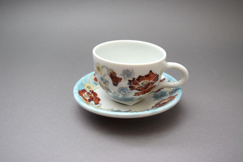 新潟県魚沼市 榧陶房tea story ヒマラヤフラワーカップ&ソーサー「A」