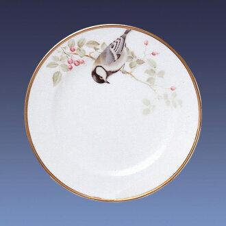 大倉陶園野鳥系列17cm蛋糕盤子(白臉山雀)