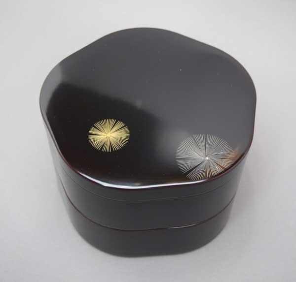 【重箱 漆塗】山中漆器飛松彫 5.0梅二段重沈金 漆塗