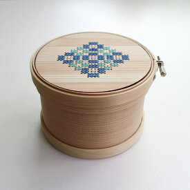 Cohana(コハナ)曲げわっぱの道具箱 あおい刺しゅう枠12cm【手芸/小物入れ】