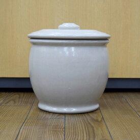 美濃焼 白釉 甕(かめ) 2升(容量4リットル)
