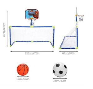 サッカー バスケットゴールセット 2in1 折り畳み 移動式 室内屋外兼用 子供向け 組み立て簡単 エアーポンプ付 運動 健康tecc-goalset[送料無料・一部地域除く]