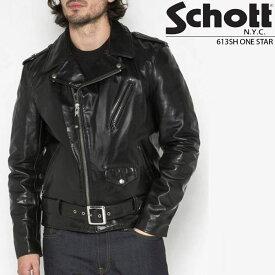 祝★開店 ショット 革ジャン Schott LEATHER MOTORCYCLE JACKET 613SH ワンスター ダブル ライダース バイク メンズ 男