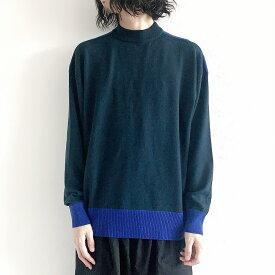wrapinknot バイカラーカシミアニット sus4-wk19w-po09m color:#3 green×blueu size:3 ラッピンノット M〜Lサイズ ニット メンズファッション 秋冬 カシミア