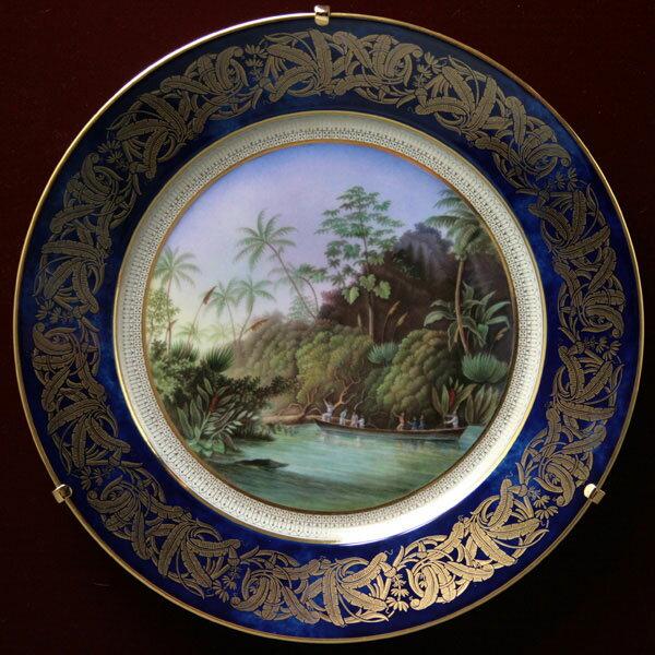 【セーブル】飾り皿ブラジルの椰子の森陶磁器 フランス SEVRES