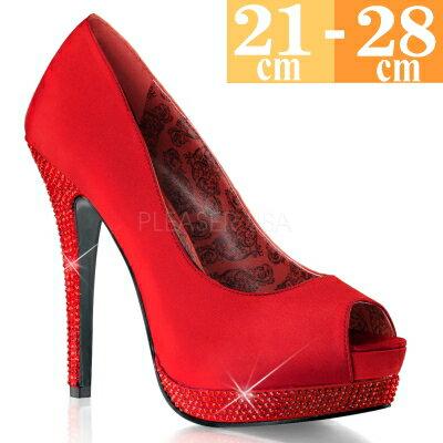 【お取り寄せ品】厚底 ハイヒールパンプス 赤【レッド サテン ピンヒール レディース 靴 女装 男の娘 大きいサイズ C-GEM】BELLA12R-RSA (type)